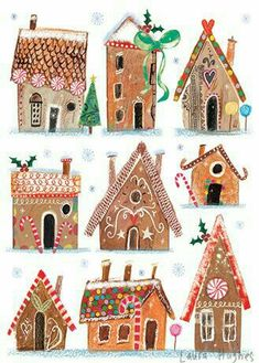 Gingerbread Drawings - With Children - Christmas Illustration - Water, Christmas Gingerbread, Noel Christmas, All Things Christmas, Winter Christmas, Vintage Christmas, Gingerbread Houses, Christmas Art Projects, Winter Art Projects, Holiday Crafts