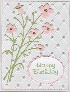 Memory Box Bella bouquet, Couture Creations Tied Together embossing folder, Spellbinders oval/scalloped oval tag.