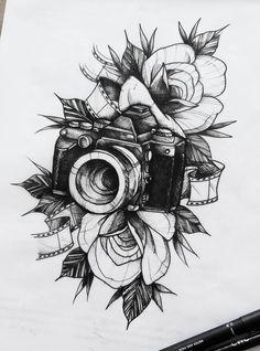 dessins de tatouage 2019 Clock instead of a camera - Tattoo Designs Photo Tattoos Motive, 3d Tattoos, Flower Tattoos, Body Art Tattoos, Small Tattoos, Sleeve Tattoos, Cool Tattoos, Watch Tattoos, Tattoo Symbols