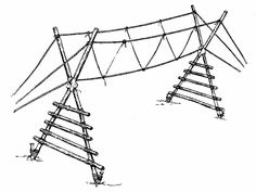 Use this bridge for team building and skill use. The bridge can be lower to the ground with end X pieces made from 4 foot planks of phone pole. Notch the center of each pole like a Lincoln log. Use trees to anchor the ends.