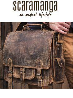 c56d833ea7 Scaramanga Mens Vintage Leather Overlander Small Satchel Style 12043. Small  Overlander Leather Bag 14 Inch at Scaramanga. Baked Apple UK