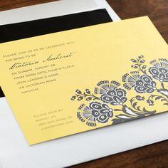 Taman Fajar Bidal Shower Invitation. Striking paisley blooms in classic black and white create a striking contrast to the saffron yellow background of these stylish bridal shower invitations. Crisp white envelopes accompany these digital designs.  http://www.einvite.com/product/detail/WSP-BTH-QENS.html/?utm_source=Social&utm_medium=Pinterest&utm_campaign=under100