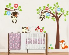 Monkeys on the Tree Fox Children Decal