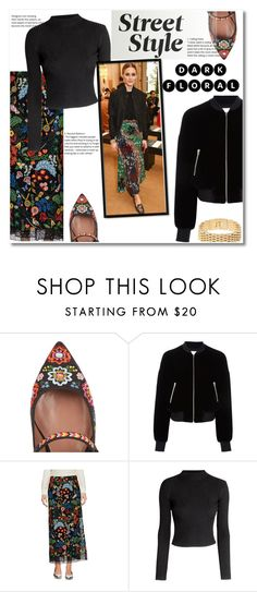 """""""Streets style OLIVIA PALERMO"""" by vkmd ❤ liked on Polyvore featuring Tabitha Simmons, T By Alexander Wang, Valentino, H&M and darkflorals"""