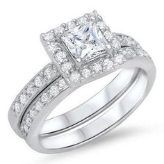 .925 Sterling Silver Wedding Ring Set CZ Princess Cut Engagement Size 6 New w57 #Unbranded