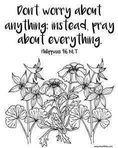 Don't Worry About Anything, Pray About Everything! Free Bible Coloring worksheet for kids or adults! Bible Lessons For Kids, Bible For Kids, Scripture Doodle, Bible Art, Bible Verse Coloring Page, Bible Quiz, Girls Bible, Free Bible Study, Sunday School
