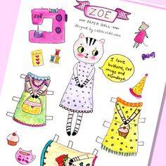 Printable Paper Doll Tabby Cat PDF  3 Adorable by LadyLucasStore