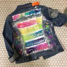 Hand Painted Rainbow Denim Jacket sz S/M von zoevintageboutique