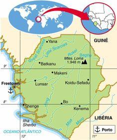 Serra Leoa | Aspectos Geográficos e Socioeconômicos de Serra Leoa Sierra Leone, Paises Da Africa, African Countries, School Projects, Charts, Porto, Cartography, Geography, Reciprocating Saw Blades