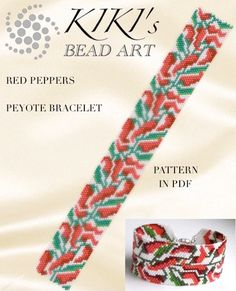 This is an own designed pattern in PDF format, downloadable directly from Etsy. The PDF file includes: 1. a large picture of the pattern 2. a large, detailed graph of the pattern, 3. a bead legend with the colour numbers and count of the delica beads for the suggested length 4. a word chart of the pattern This pattern is for my Red peppers cuff, which is created in odd, single peyote. Please note that my patterns do not include instructions for how to do the peyote stitch. You can also…
