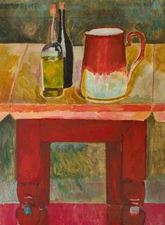 Bottles and Jug on a Table by Vanessa Bell  1915/1017