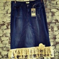 """This purchase is a for a custom made jean skirt made from jeans in the """"Amazing Lace"""" design. For all your romantics, the Amazing Lace offers two rows of beautiful handpicked lace that is placed horizontally across the denim... To order: http://www.lovemyjeanskirt.com/shop/junior-misses-size-0-8/amazing-lace-long-modest-feminine-denim-lace-jean-skirt-women-jrms/"""