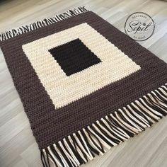 Handmade crochet rug in natural wool home decoration element Crochet Table Mat, Crochet Doily Rug, Crochet Rug Patterns, Crochet Carpet, Crochet Pillow, Tapestry Crochet, Crochet Yarn, Crochet Stitches, Knit Rug