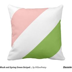 Blush and Spring Green Striped Pillow ($33) ❤ liked on Polyvore featuring home, home decor, throw pillows, stripe throw pillows, striped accent pillows and striped throw pillows