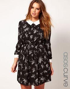 Enlarge ASOS CURVE Shirt Dress In Leaf Print