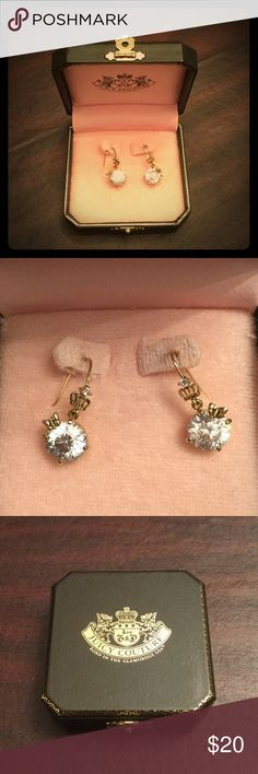 """Juicy Couture Earrings Gold earrings with with large stones that hang 1"""" from the ear. Juicy Couture Jewelry Earrings"""