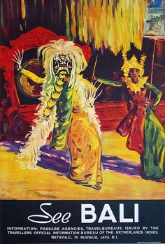 Vintage See Bali Indonesia Travel Tourism Poster Re-Print Wall Decor Bali Travel, Travel And Tourism, Travel Ads, Travel Trip, Travel Destinations Bucket Lists, Pub Vintage, Indonesian Art, Tourism Poster, Retro Poster