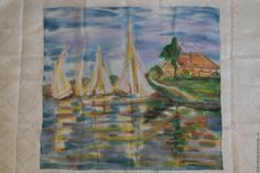 Купить Лазурный берег - синий, рисунок, платок, пейзаж, морской пейзаж, кораблики, весенний платок