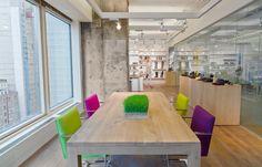 Brown Shoe Company  Designer: MKDA New York    #brownshoecompany #office #mkdanewyork #tagwall #slimline #interiordesign #officedesign #walldesign #workspaces Heat Energy, Floor Space, Sliding Doors, Wall Design, Space Saving, Minimalism, Dining Table, Shoe Company, Flooring