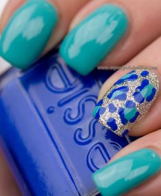 Leopard print accent nail art: three color colour design: teal, turquoise green nails and golden sparkly glitter base with true blue and teal animals spots #summer 2013