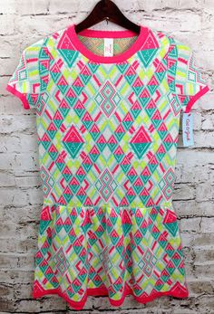 NWT CAT & JACK Geometric Neon Sweater Dress Girl's Large 10/12 Short Sleeves NEW #CatJack #SweaterDress