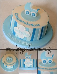 boy baby shower cake  Love the stripes on this cake :)