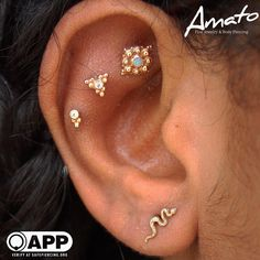 Healing triple flat pierced a few months ago by Lynn at Amato with BVLA and anat… – Piercing/Tattoo envy - GoHairstyles Bvla Jewelry, Rook Piercing Jewelry, Heart Jewelry, Ear Piercings, Body Piercing, Fine Jewelry, Flat Piercing, Faux Rook Piercing, Piercing Chart