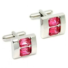 charming rectangle sliver and two pink crystal cufflinks