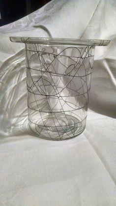 String Wire Spaghetti Glass Vase Retro Mid Century 50s 60s Drizzle Top Hat VTG