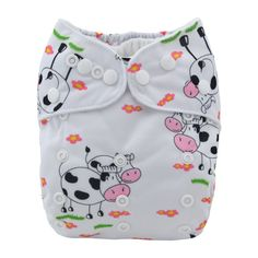 Alva Baby Cloth Diaper Cute Cow Reusable Washable Pocket Nappy+ Absorbent Insert #ALVA