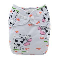 Alva Baby Cloth Diaper Cute Cow Reusable Washable Pocket Nappy+ Absorbent Insert #ALVA