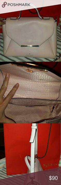 Kate Spade Camden Way Palermo Satchel Gently used  Kate Spade New York handbag in a a pale pink (ballet pink) color! This bag retailed for $398! This bag is a large satchel with gold hardware, one small pocket with the big pocket behind, a large strap, and the beautiful kate spade monogram!  Does not come with tags or dust bag. There is a small mark shown on the strap. Only used this bag for 2 weeks. Gently used. Measurements:?12 x 7 x 12 in. 100% Authentic. Style #?WKRU3616 Kate Spade Bags…