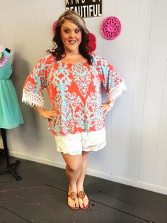Orange Printed Lace Sleeve Top - #blondellamydean #plussizefashion #plussize #curves