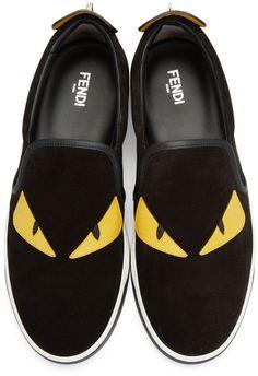 Fendi - Black Suede  Bag Bug  Sneakers Black Sneakers 40462ad93