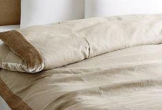 velvet edge linen (flax color) duvet (natural) approx $239 for king. By Linen Salvage et Cie | One Kings Lane