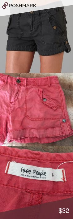 """Free People Red Linen Benji Cargo Shorts 6 This is a pair of Free People cargo shorts. Size 6. Made of 60% linen 40% cotton. Waist 30""""'inseam 2"""" rise 9.5"""". Mint condition. Free People Shorts Cargos"""