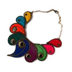 Colorful Zipper and Felt Necklace with Button, Energetic Zipper Jewelery, Pinki Handmade Jewerly