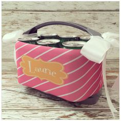 6 Pack Personalized Cooler Carrier from The Cute Kiwi