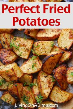 This easy fried potatoes recipe makes perfect fried potatoes, which are a yummy addition to a big breakfast or a nice side to a comfort food meal! Potato Dishes, Potato Recipes, Food Dishes, Side Dishes, Cheap Healthy Family Meals, Frugal Meals, Easy Meals, Vegetable Dishes, Vegetable Recipes