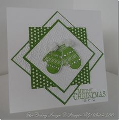 handmade card ... white and apple green ... luv the look of the layered graduated squares placed at alternating angles ... mittens on top ... fresh look ... luv it!!