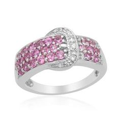 Pink Sapphire (Rnd), Diamond Buckle Ring in Platinum Overlay Sterling Silver (Size O) 1.501 Ct.