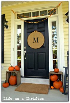 Pumpkins in crates. Like this idea for fall doorstep. This site has many other ideas for front door decor for fall. Burlap Monogram, Door Monogram, Monogram Wreath, Burlap Ribbon, Monogram Letters, Burlap Wreath, Black Door, Front Doors, Front Entry