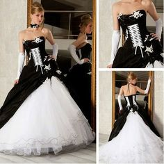New Fashion Black and White Wedding Dresses for Bride with Appliques Sweetheart A1016 $165.66
