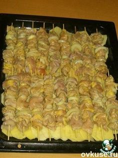 Куриный шашлык с картошкой в духовке - Простые рецепты Овкусе.ру