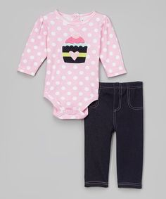 This Babyworks Pink Polka Dot Cupcake Bodysuit & Navy Pants - Infant by Babyworks is perfect! #zulilyfinds