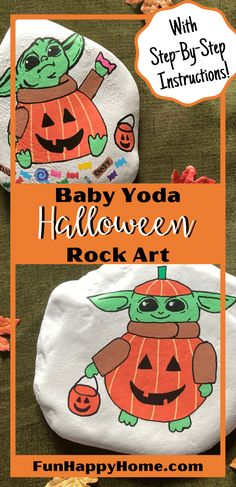 Create fun Star Wars Rock Art! These Halloween Baby Yoda Rock Art Designs are sure to delight kids and adults! And they come with step-by-step instructions! #starwars #babyyoda #halloween #rockart