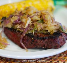 Steaks with Pineapple Rosemary Topping. Sweet & savory with caramelized onions and brown sugar. www.lorisculinarycreations.com