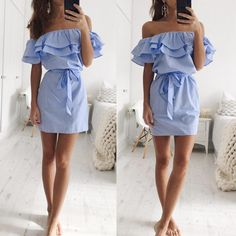 4d1369a8a262 Women Summer Striped Off The Shoulder Swing Casual T Shirt Dress ** Find  out more