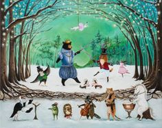 """""""The Waltz of Winter"""" Acrylic on canvas ©2015 Cards & Prints available…"""