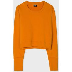 Paul Smith Women's Orange Organic Cotton Cropped Sweatshirt ($150) ❤ liked on Polyvore featuring tops, hoodies, sweatshirts, organic cotton sweatshirt, boxy crop top, crop top, cropped sweatshirt and paul smith